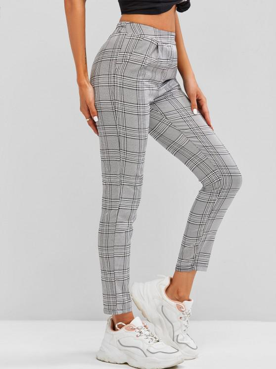 trendy Houndstooth Pull On Pants - BLACK S