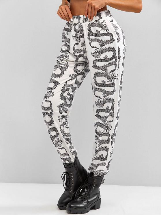 chic Oriental Dragon Print High Rise Jogger Pants - BLACK S