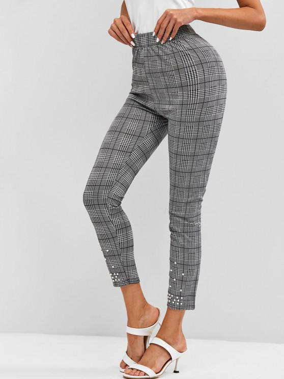 shop Houndstooth Beading Leggings - BLACK XL