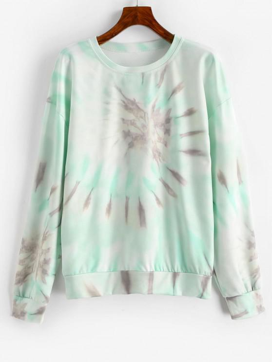 women's Drop Shoulder Pullover Tie Dye Sweatshirt - MULTI-B XL