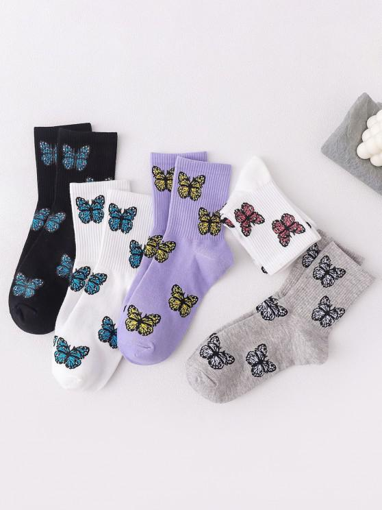 lady 5 Pairs Butterfly Print Cotton Micro Crew Socks Set - MULTI-A