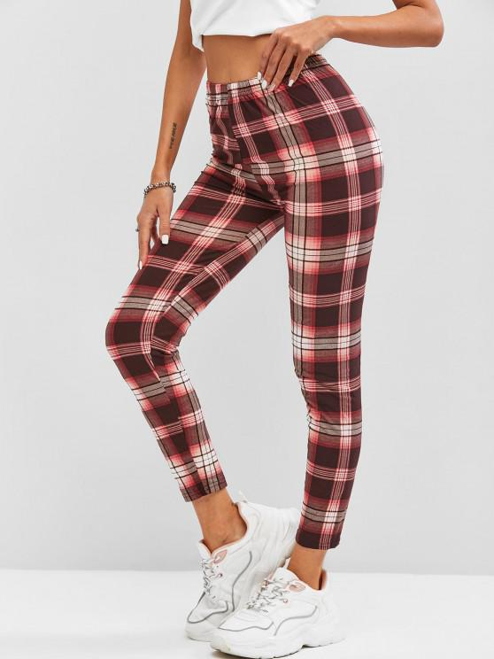 trendy Plaid High Waisted Leggings - RED ONE SIZE