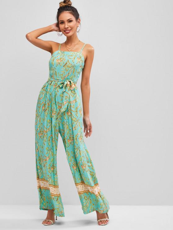 trendy Cami Floral Leaves Print Wide Leg Jumpsuit - GREEN S