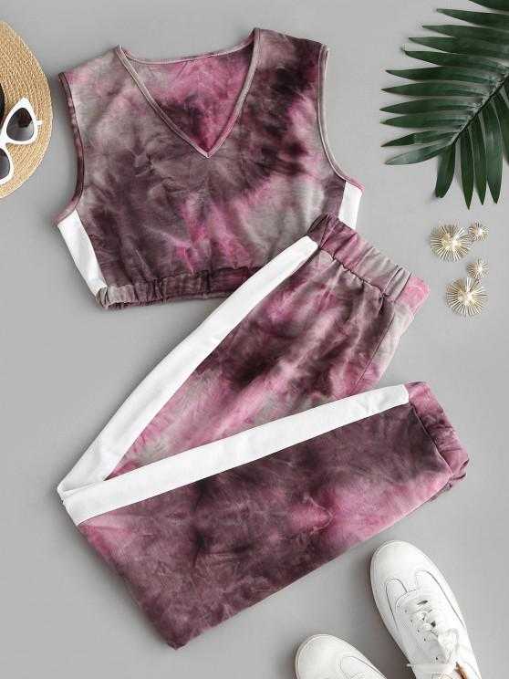 sale Tie Dye Cropped Jogger Sweatpants Set - DEEP RED XL