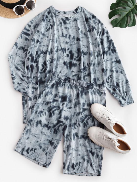 Pantaloncini con Spalle Scivolate di Tie-Dye - Grigio S