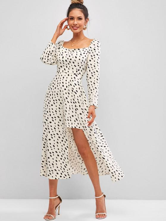outfit Dalmatian Dots Smocked Back Front Slit Milkmaid Dress - WHITE L