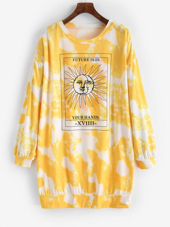 hot Tie Dye Moon and Sun Drop Shoulder Sweatshirt Dress - YELLOW S