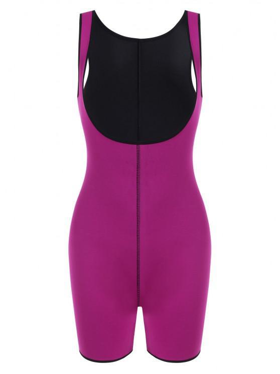 latest Open Bust Topstitching Slimming Corset Bodysuit Shaper - PURPLE L