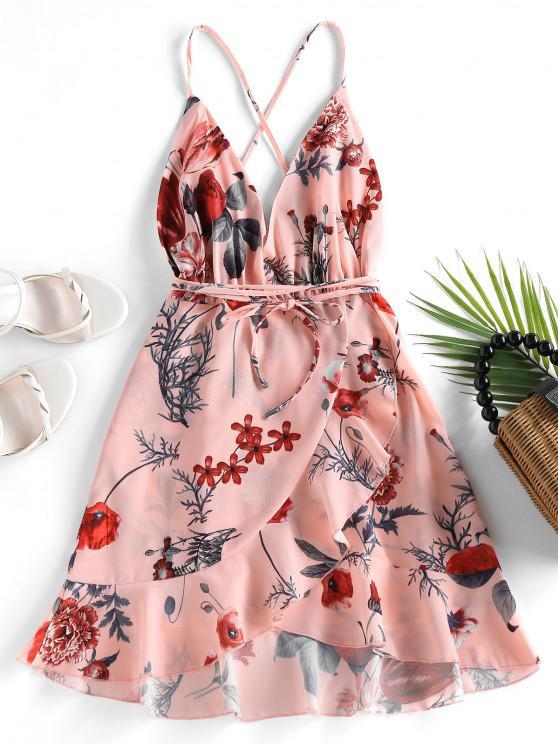 latest ZAFUL Criss Cross Floral Ruffles Mini Dress - PINK XL