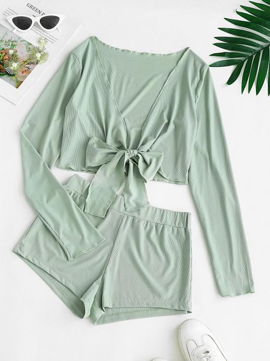Ribbed Tie Front Two Piece Shorts Set - اخضر فاتح M