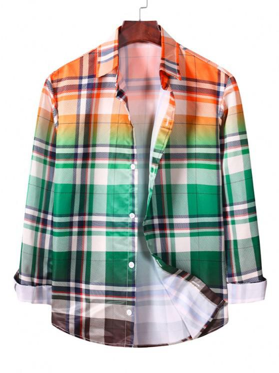 lady Ombre Plaid Long Sleeve Casual Shirt - MACAW BLUE GREEN M