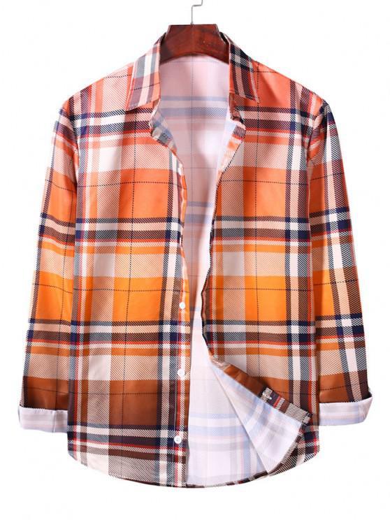 sale Ombre Plaid Long Sleeve Casual Shirt - SANDY BROWN L