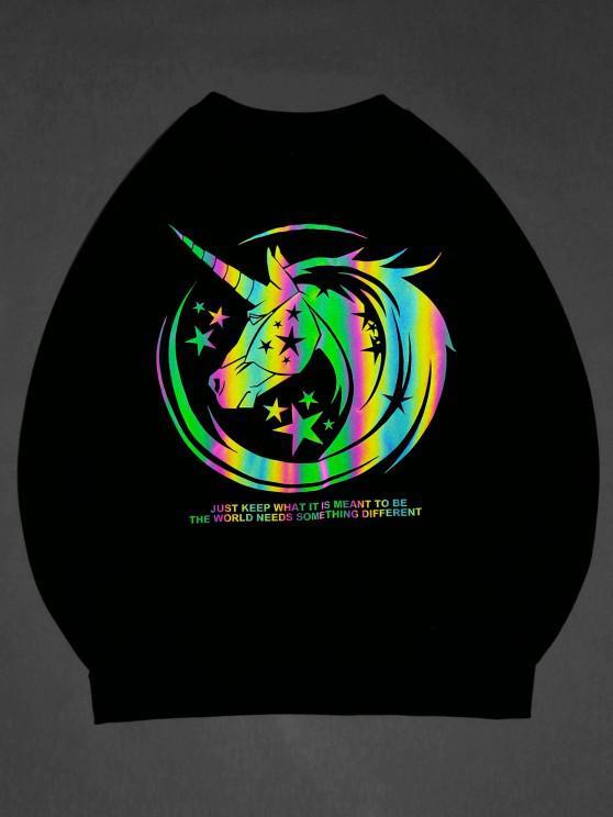 affordable ZAFUL Luminous Unicorn Print Graphic Sweatshirt - BLACK S
