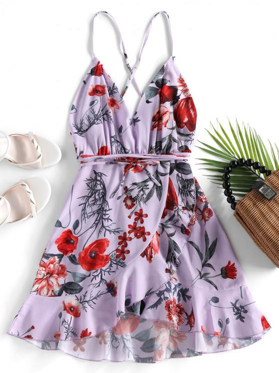 outfit ZAFUL Criss Cross Floral Ruffles Mini Dress - PURPLE XL