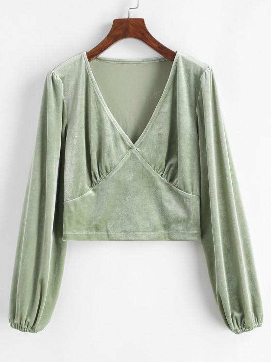 ladies Crushed Velvet Long Sleeve Top - LIGHT GREEN M