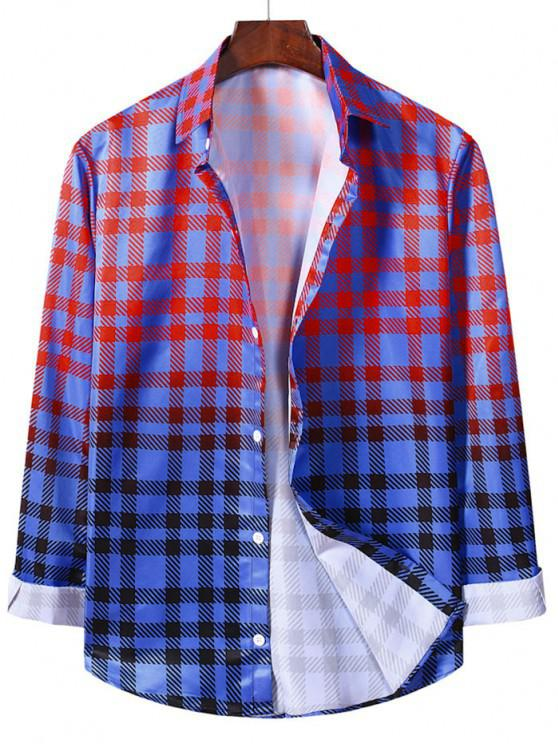 fancy Ombre Checkered Pattern Long Sleeve Shirt - LAVA RED S