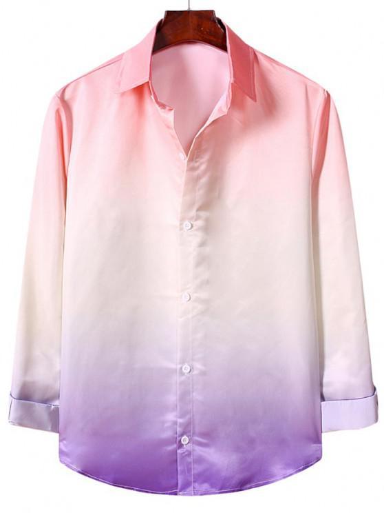 Camisa Casual de Manga Larga con Estampado Degradado - Rosa Flamenco 2XL