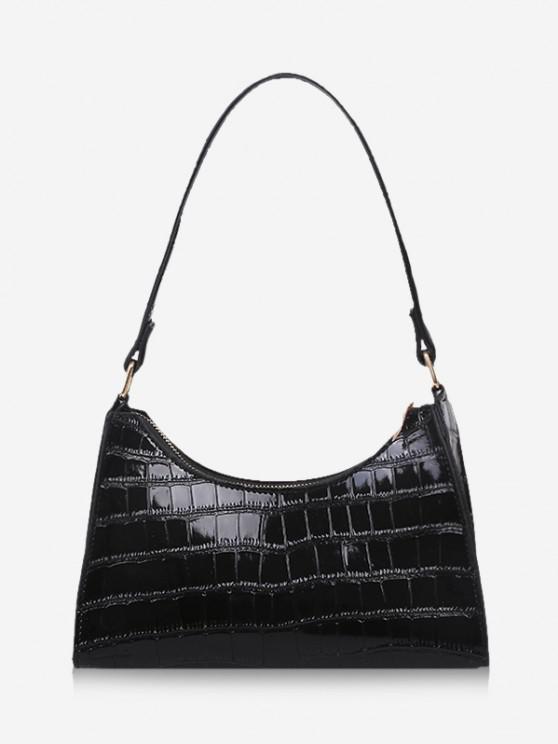 latest Textured Patent Leather Shoulder Bag - BLACK