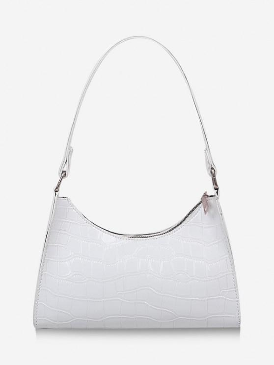 trendy Textured Patent Leather Shoulder Bag - WHITE