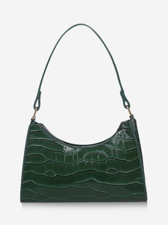 fashion Textured Patent Leather Shoulder Bag - DEEP GREEN