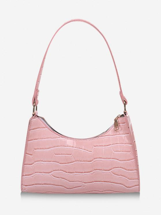 chic Textured Patent Leather Shoulder Bag - LIGHT PINK
