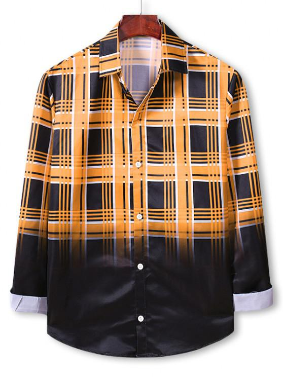 Plaid Ombre Print Button Up Shirt - نحلة صفراء L