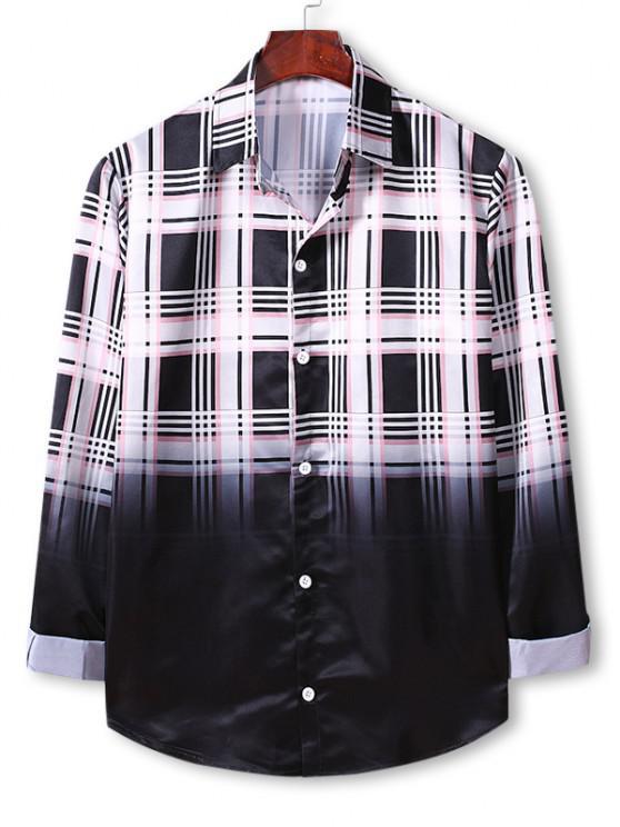 unique Plaid Ombre Print Button Up Shirt - WHITE L