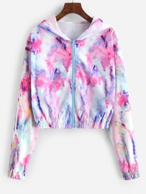 Tie Dye Zip Up Cropped Hooded Jacket - متعدد L