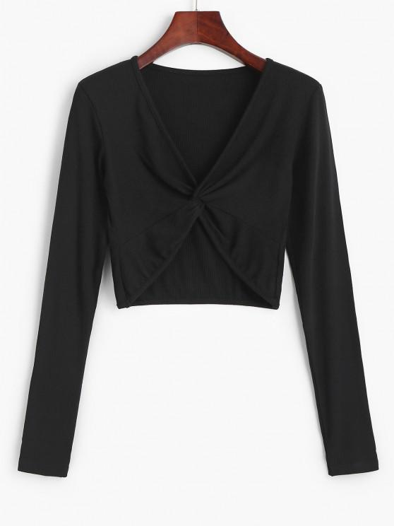hot Twist Front Ribbed Cropped Knitwear - BLACK S