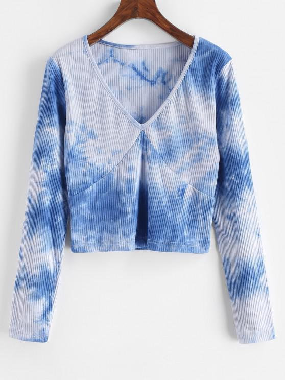 online Ribbed Tie Dye Long Sleeve Top - BLUE S