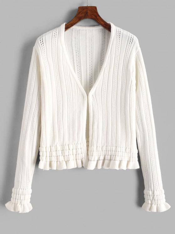 Hook And Eye Frilled Pointelle Knit Cardigan - أبيض حجم واحد