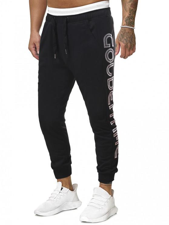 Pantalones Deportivos Estampado Letras Dorado y Cordones - Negro XL