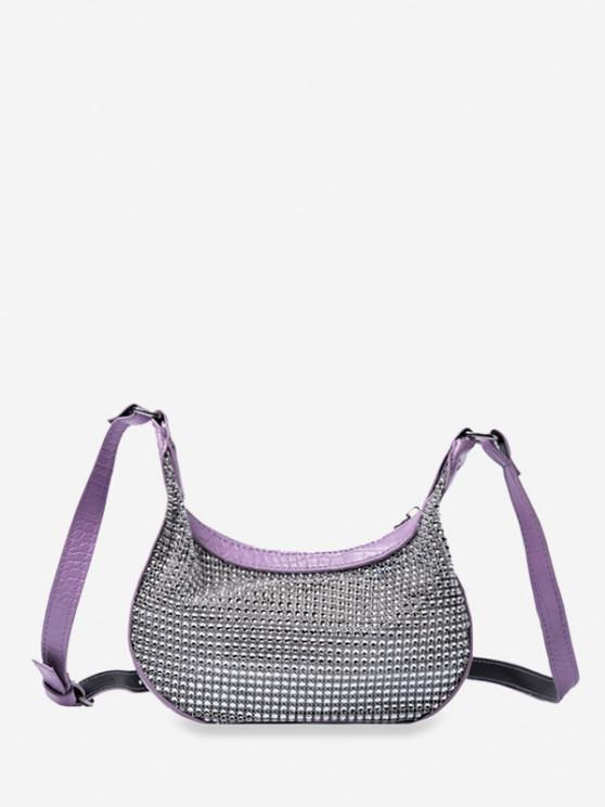 hot Rhinestone Crescent Shape Crossbody Bag - LIGHT PURPLE