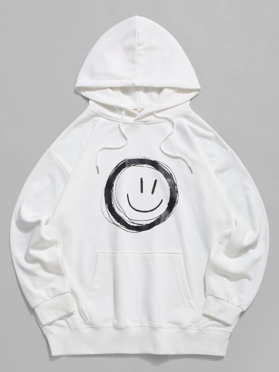 sale Lounge Smiley Face Graphic Pouch Pocket Hoodie - WHITE L