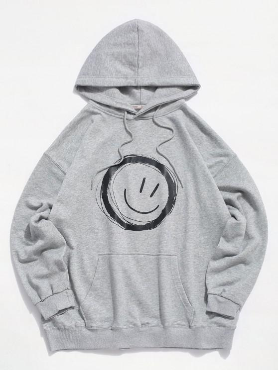 womens Lounge Smiley Face Graphic Pouch Pocket Hoodie - LIGHT GRAY XL