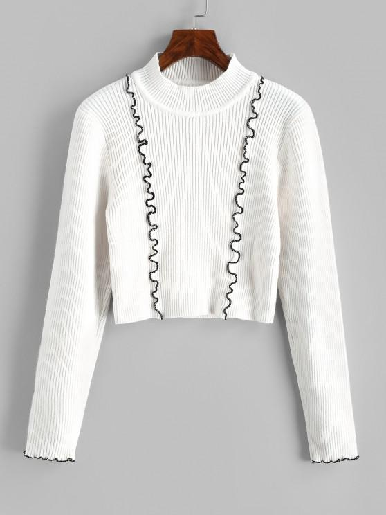 Ribbed Contrast Binding Crop Jumper Sweater - أبيض حجم واحد