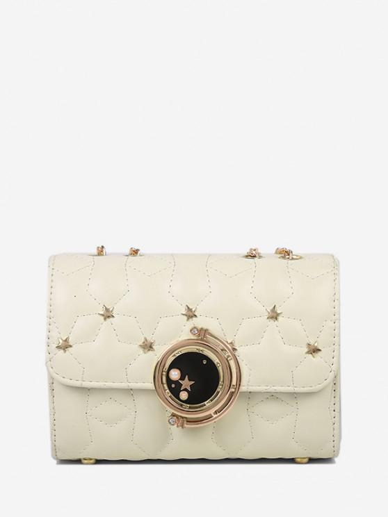 sale Star Chain Rectangle Crossbody Bag - WHITE