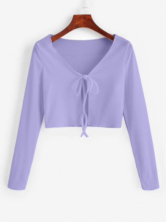 women Ribbed Tie Front Cropped Tee - LIGHT PURPLE L