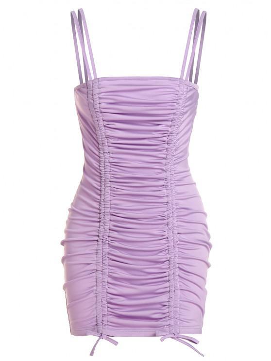online ZAFUL Cinched Mini Bodycon Dress - LIGHT PURPLE S