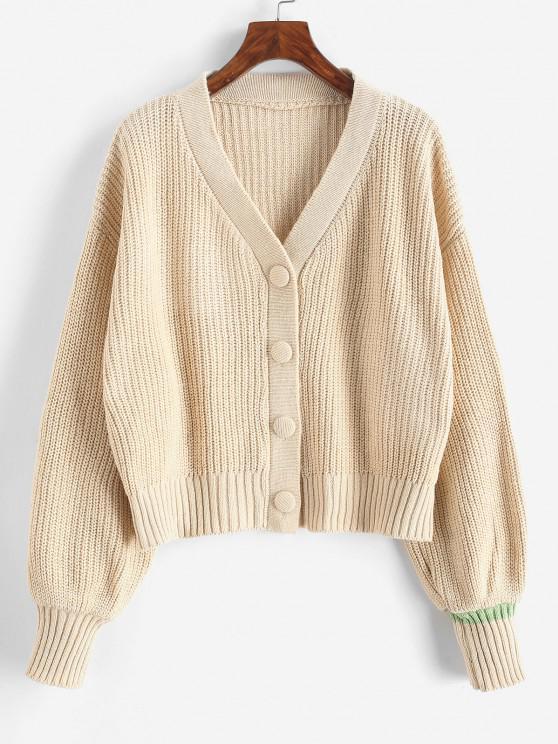 hot Drop Shoulder V Neck Button Up Cardigan - LIGHT COFFEE ONE SIZE