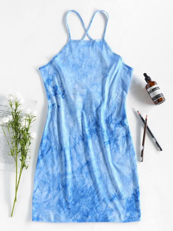 ZAFUL Mini Vestido Ajustado de Tie-dye con Tiras Cruzadas - Celeste M