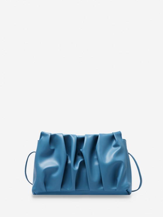 women Pleated Solid Crossbody Bag - LIGHT BLUE