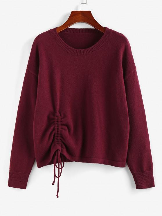 ZAFUL Drop Shoulder Cinched Sweater - أحمر عميق L