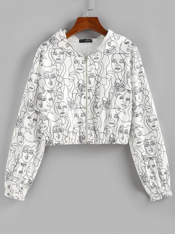 womens ZAFUL Hooded Face Sketch Print Crop Jacket - WHITE S