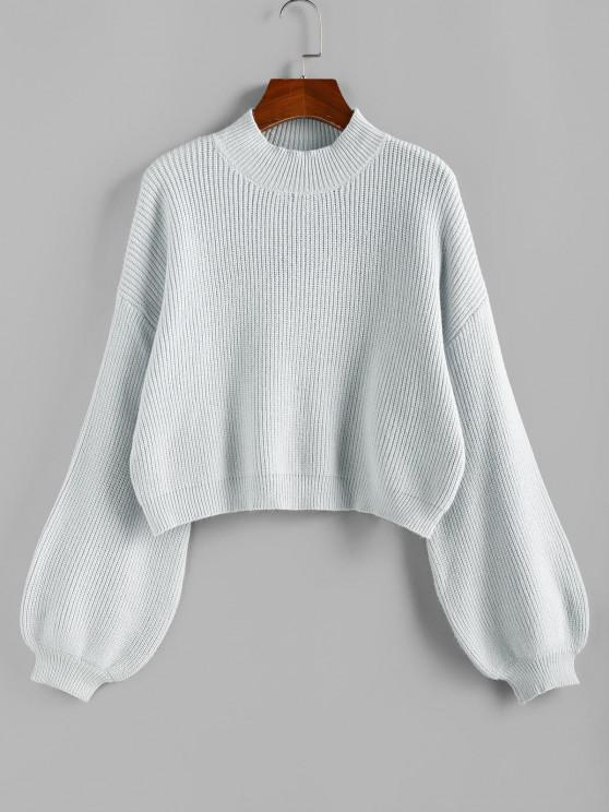 unique ZAFUL Lantern Sleeve Short Sweater - BABY BLUE M