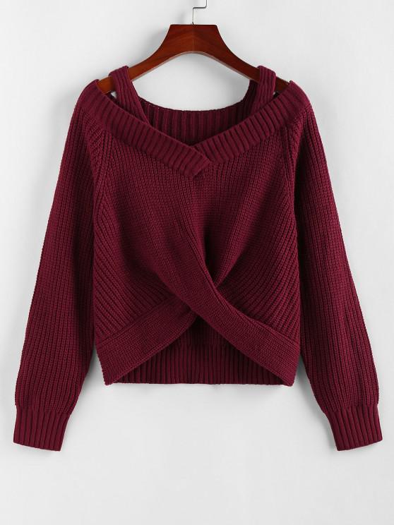 ZAFUL Twisted Raglan Sleeve Cold Shoulder Jumper Sweater - أحمر عميق L