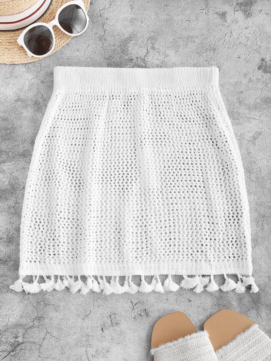 Tassels Crochet Beach Skirt - أبيض حجم واحد