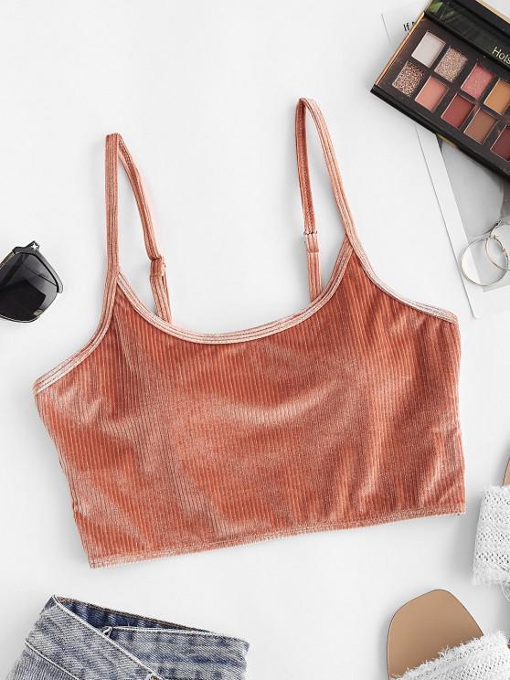 ZAFUL Shimmer Velvet Ribbed Bikini Top - برتقالي فاتح S