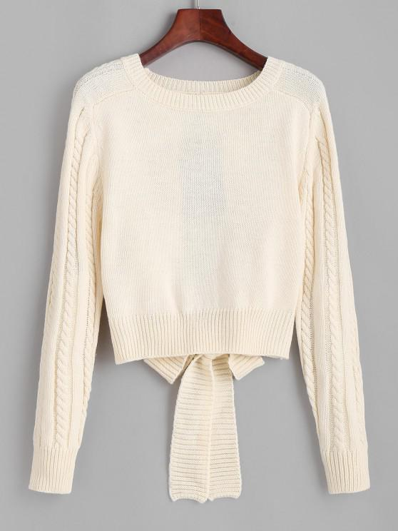 trendy Cut Out Tie Back Cable Knit Sweater - LIGHT COFFEE ONE SIZE