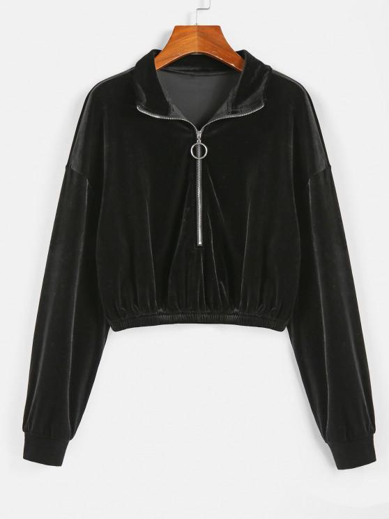 womens ZAFUL Half Zip Velvet Drop Shoulder Sweatshirt - BLACK XL
